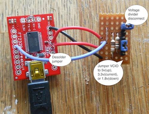 Sparkfun usb serial board with custom stripboard
